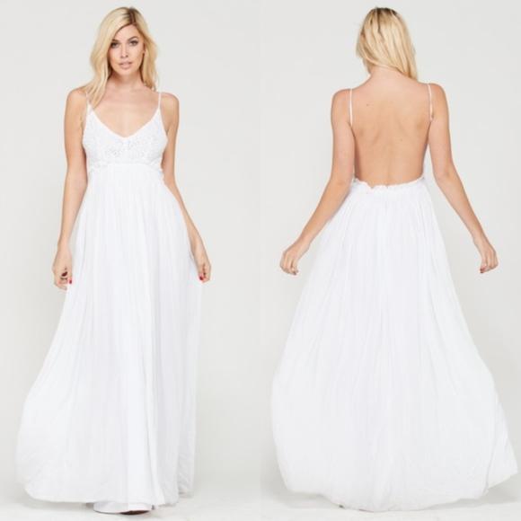 White Open Back Maxi Dress